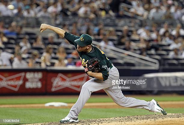 Michael Wuertz of the Oakland Athletics in action against the New York Yankees on July 22 2011 at Yankee Stadium in the Bronx borough of New York City