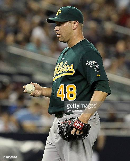 Michael Wuertz of the Oakland Athletics looks on against the New York Yankees on July 22 2011 at Yankee Stadium in the Bronx borough of New York City