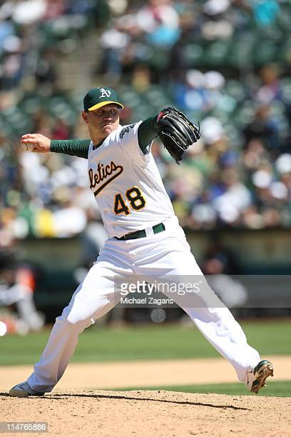 Michael Wuertz of the Oakland Athletics pitching during the game against the Chicago White Sox at the OaklandAlameda County Coliseum on May 15 2011...