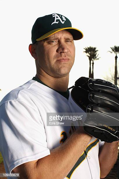 Michael Wuertz of the Oakland Athletics poses for a portrait during media photo day at Phoenix Municipal Stadium on February 24 2011 in Phoenix...