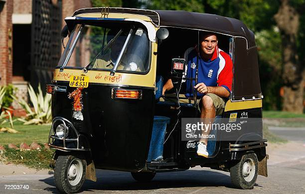 Michael Yardy of England poses in a tuktuk taxi on October 18 in Jaipur India