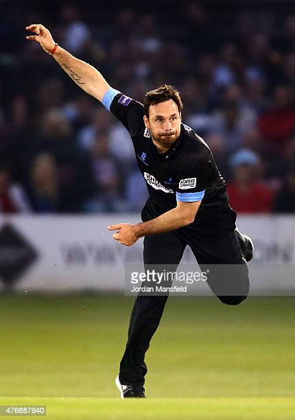 Michael Yardy of Sussex bowls during the T20 Blast match between Sussex Sharks and Essex Eagles at BrightonandHoveJobscom County Ground on June 12...