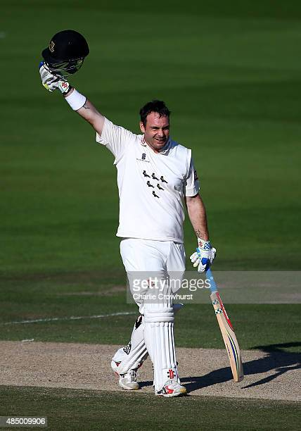 Michael Yardy of Sussex celebrates his century during day three of the LV County Championship match between Sussex and Yorkshire at The...