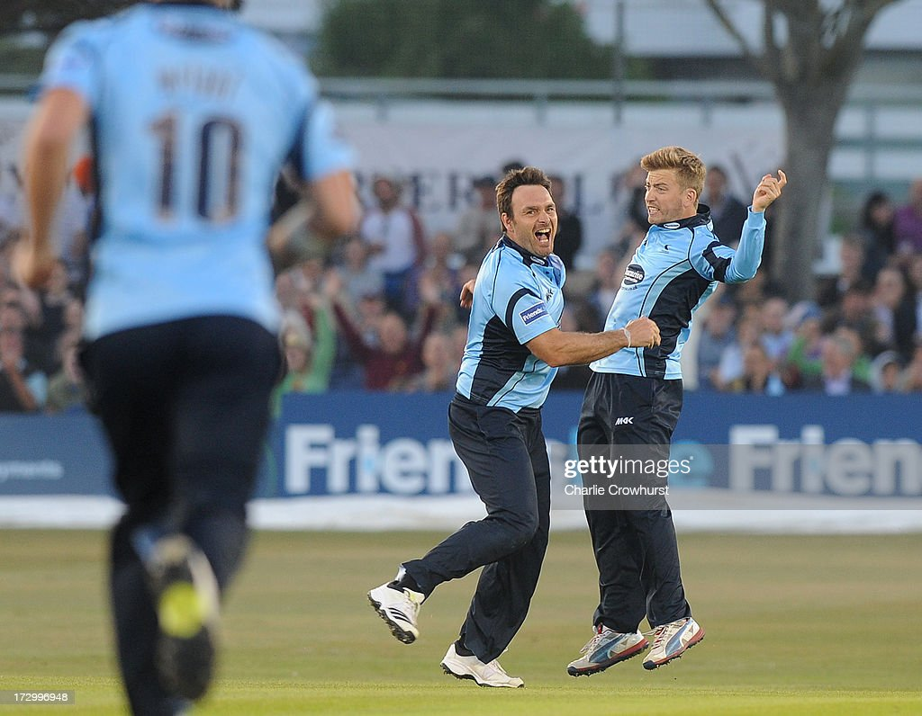 Michael Yardy of Sussex celebrates the wicket of James Vince of Hampshire during the Friends Life T20 match between Sussex Sharks and Hampshire Royals at The Brighton and Hove Jobs County Ground on July 05, 2013 in Hove, England.