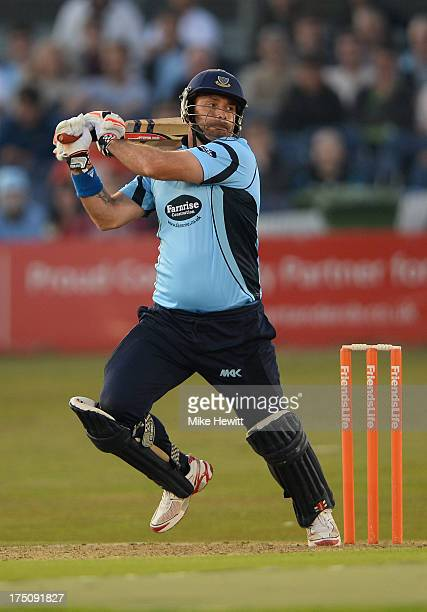 Michael Yardy of Sussex hits out during the Friends Life T20 match between Sussex Sharks and Kent Spitfires at BrightonandHoveJobscom County Ground...