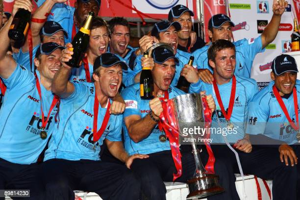 Michael Yardy the captain of Sussex County Cricket Club lifts the Trophy after winning the Twenty20 Cup Final between Somerset and Sussex at...