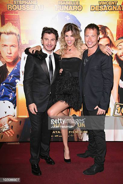 Michael Youn Isabelle Funaro and Stephane Rousseau attend the 'Fatal' Paris premiere at Le Grand Rex on June 14 2010 in Paris France