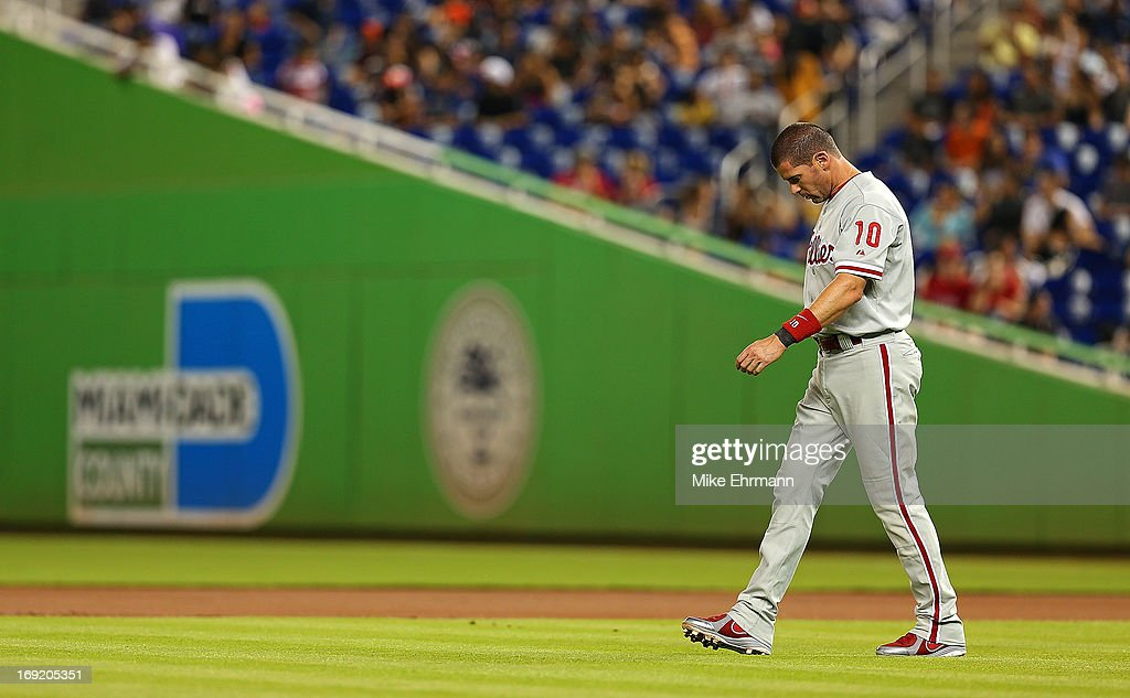 <a gi-track='captionPersonalityLinkClicked' href=/galleries/search?phrase=Michael+Young&family=editorial&specificpeople=203149 ng-click='$event.stopPropagation()'>Michael Young</a> #10 of the Philadelphia Phillies looks on during a game against the Miami Marlins at Marlins Park on May 21, 2013 in Miami, Florida.