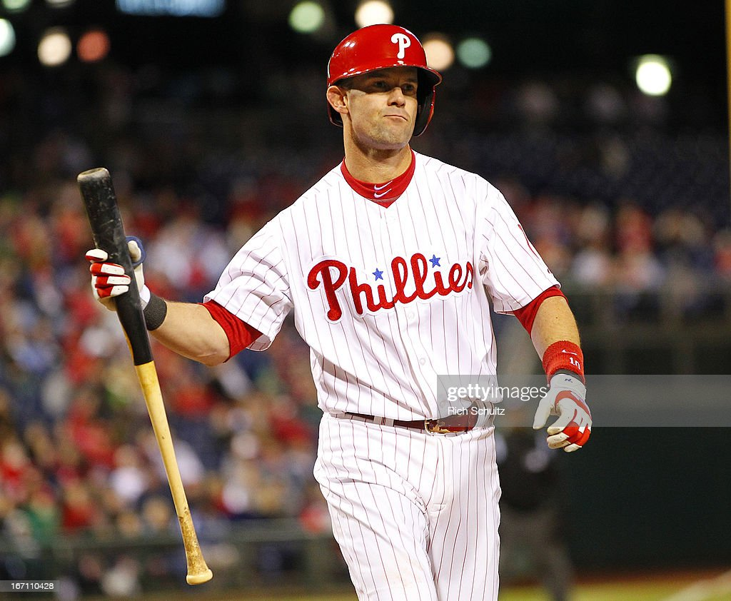 Michael Young #10 of the Philadelphia Phillies reacts to striking out against the St. Louis Cardinals in the seventh inning in a MLB baseball game on April 20, 2013 at Citizens Bank Park in Philadelphia, Pennsylvania. The Cardinals defeated the Phillies 5-0.