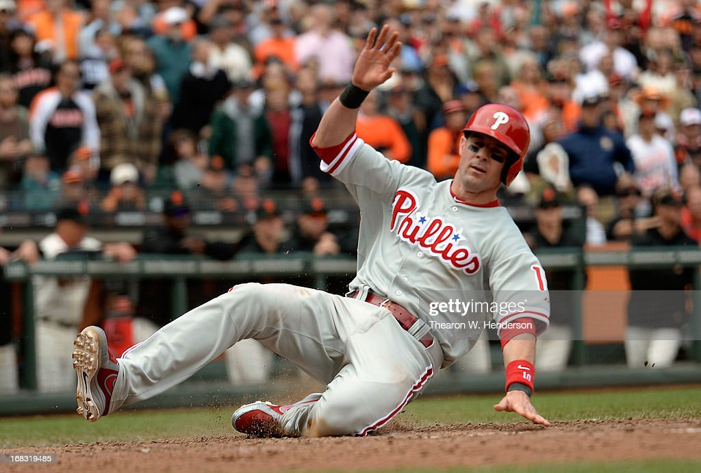 Michael Young of the Philadelphia Phillies scores the tying run against the San Francisco Giants in the ninth inning at ATT Park on May 8 2013 in San...