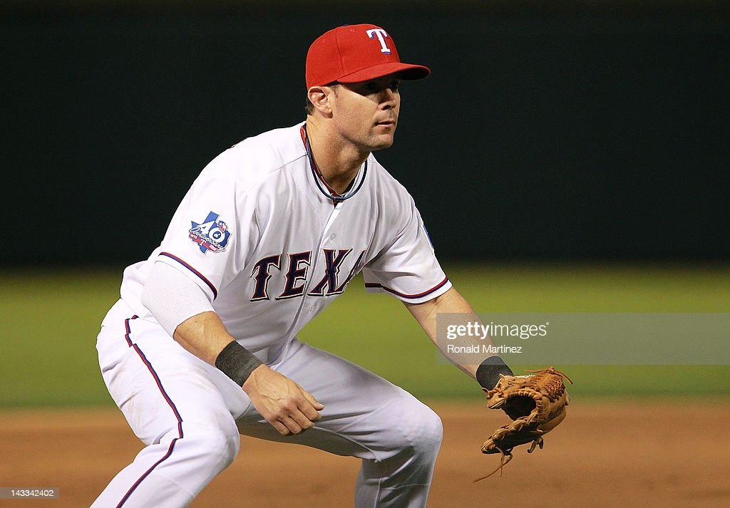 <a gi-track='captionPersonalityLinkClicked' href=/galleries/search?phrase=Michael+Young+-+Baseball+Player&family=editorial&specificpeople=203149 ng-click='$event.stopPropagation()'>Michael Young</a> #10 of the Texas Rangers at Rangers Ballpark in Arlington on April 23, 2012 in Arlington, Texas.