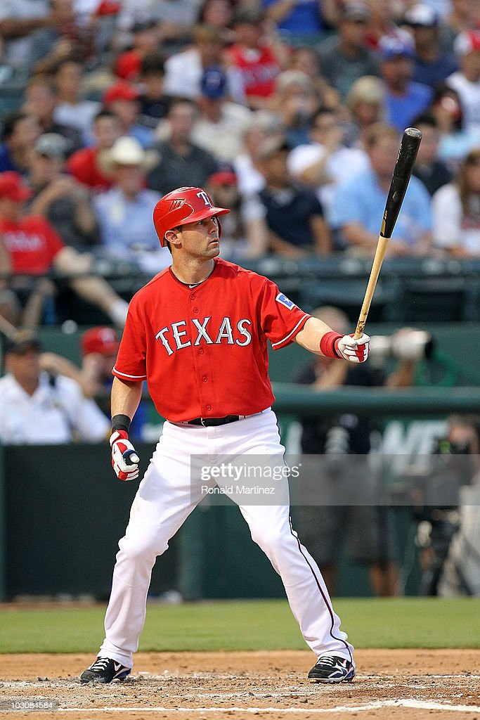 Michael Young of the Texas Rangers on July 23 2010 at Rangers Ballpark in Arlington Texas
