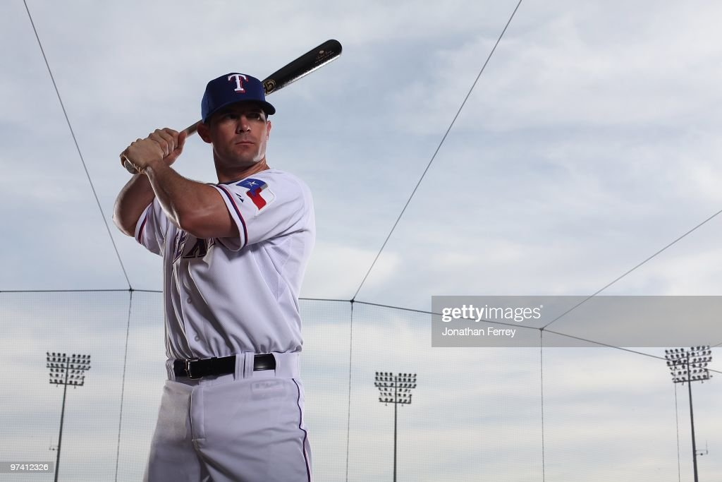 <a gi-track='captionPersonalityLinkClicked' href=/galleries/search?phrase=Michael+Young+-+Baseball+Player&family=editorial&specificpeople=203149 ng-click='$event.stopPropagation()'>Michael Young</a> #10 poses for a portrait during the Texas rangers Photo Day at Surprise on March 2, 2010 in Surprise, Arizona.