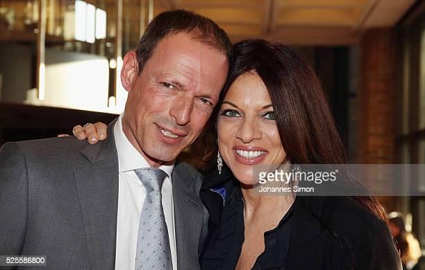 Michael Zechbauer and Alice Brauner attend the FilmFernsehFonds Bayern celebrations at Gasteig CarlOrffSaal on April 28 2016 in Munich Germany