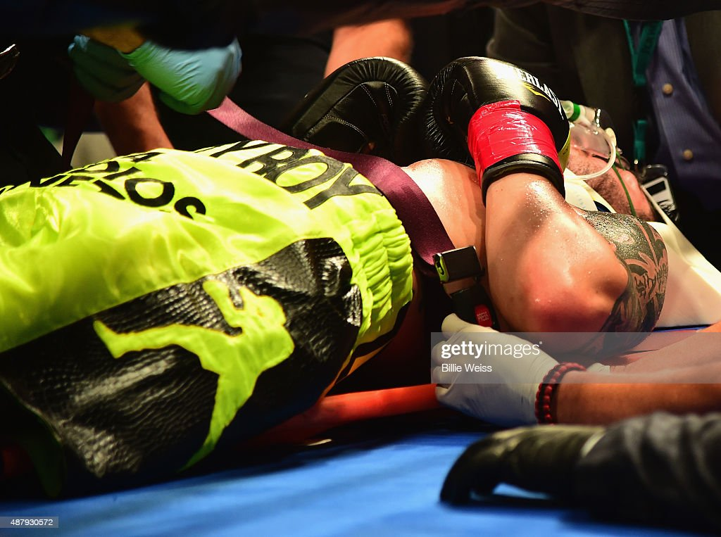 Michael Zerafa is put onto a stretcher after being knocked out by Peter Quillin during a fight at Foxwoods Resort Casino on September 12, 2015 in Mashantucket, Connecticut.