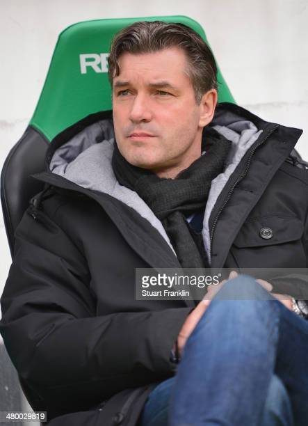 Michael Zorc manager of Dortmund looks on prior to the start of the Bundesliga match between Hannover 96 and Borussia Dortmund at HDIArena on March...