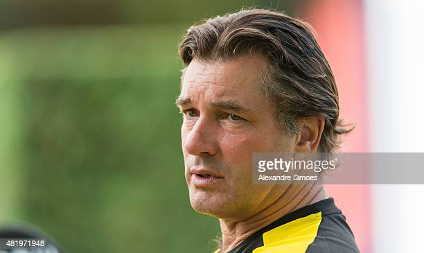 Michael Zorc of Borussia Dortmund doing a video interview with BVB Total by the team hotel GRAND RESORT BAD RAGAZ on July 25 2015 in Bad Ragaz...