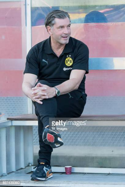 Michael Zorc of Dortmund looks on during a friendly match between Espanyol Barcelona and Borussia Dortmund as part of the training camp on July 28...
