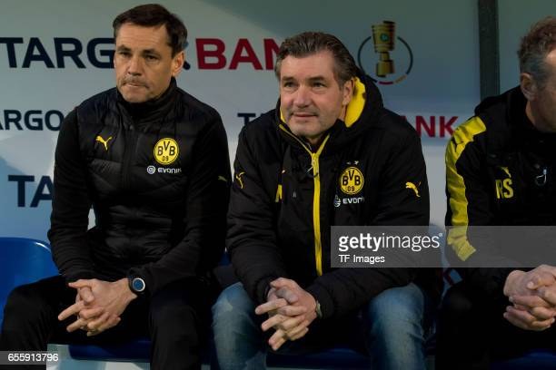 Michael Zorc of Dortmund looks on during the DFB Cup Quarter Final match between Sportfreunde Lotte and Borussia Dortmund at the Stadion an der...