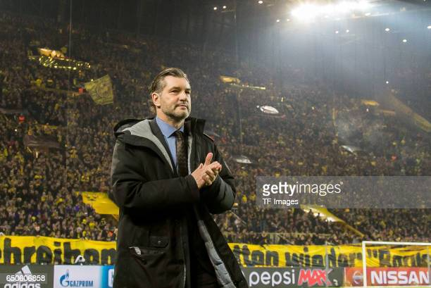 Michael Zorc sports director of Dortmund gestures during the UEFA Champions League Round of 16 Second Leg match between Borussia Dortmund and SL...