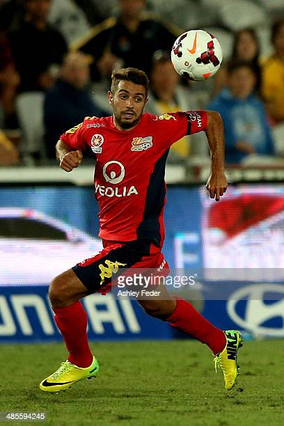 Michael Zullo of Adelaide United in action during the ALeague Elimination Final match between the Central Coast Mariners and Adelaide United at...