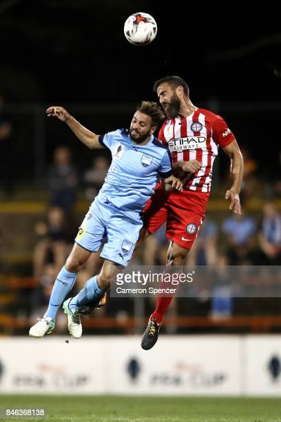 Michael Zullo of Sydney FC and Emmanuel Muscat of City FC contest the ball during the FFA Cup Quarter Final match between Sydney FC and Melbourne...
