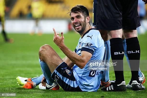 Michael Zullo of Sydney FC appeals to an official after being brought down during the round three ALeague match between the Wellington Phoenix and...