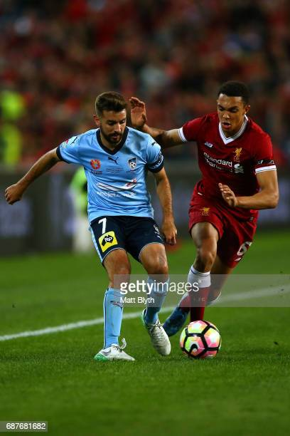 Michael Zullo of Sydney FC controls the ball during the International Friendly match between Sydney FC and Liverpool FC at ANZ Stadium on May 24 2017...