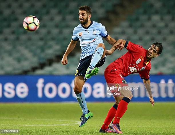 Michael Zullo of Sydney FC controls the ball during the round eight ALeague match between Sydney FC and Adelaide United at Allianz Stadium on...