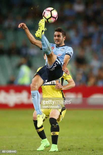 Michael Zullo of Sydney FC does an overhead kick during the round 23 ALeague match between Sydney FC and the Central Coast Mariners at Allianz...