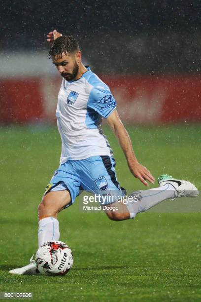 Michael Zullo of Sydney FC kicks the ball during the FFA Cup Semi Final match between South Melbourne FC and Sydney FC at Lakeside Stadium on October...