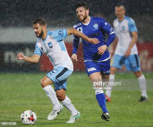 Michael Zullo of Sydney FC runs with the ball during the FFA Cup Semi Final match between South Melbourne FC and Sydney FC at Lakeside Stadium on...