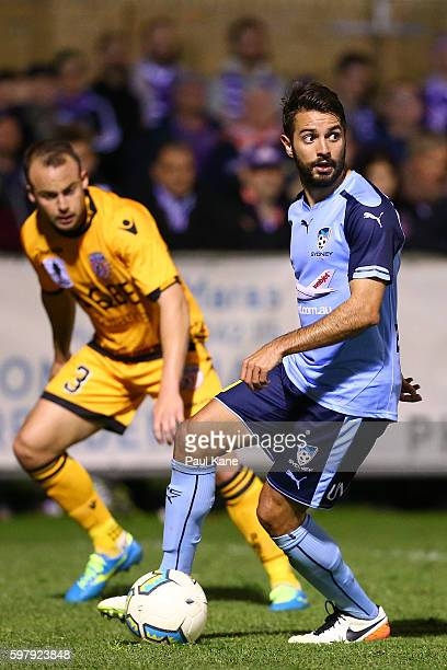 Michael Zullo of Sydney looks to pass the ball during the round 16 FFA Cup match between Perth Glory and Sydney FC at Dorrien Gardens on August 30...