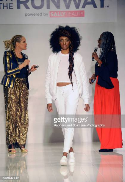 Michaela Angela Davis and Diane C Bailey speak on the runway for Shea Moisture during Texture On The Runway presented by NaturallyCurly powered By...
