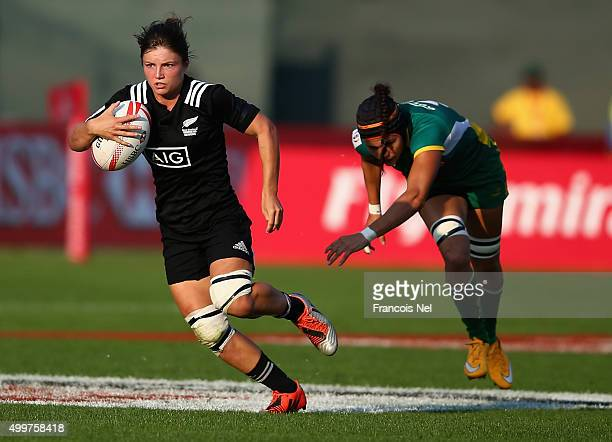 Michaela Blyde of New Zealand runs with the ball during day one of the Women's HSBC Sevens World Series at The Sevens Stadium on December 3 2015 in...