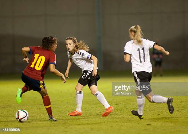 Michaela Brandenburg of Germany challenges Andrea Sanchez of Spain during the UEFA Women's Under19 European Championship group stage match between...