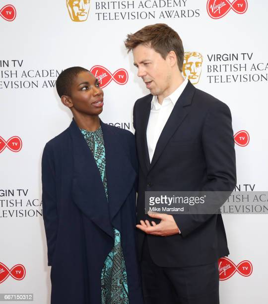 Michaela Coel and Andrew Buchan attend the nominations announcement for the Virgin TV British Academy Television Awards at BAFTA on April 11 2017 in...