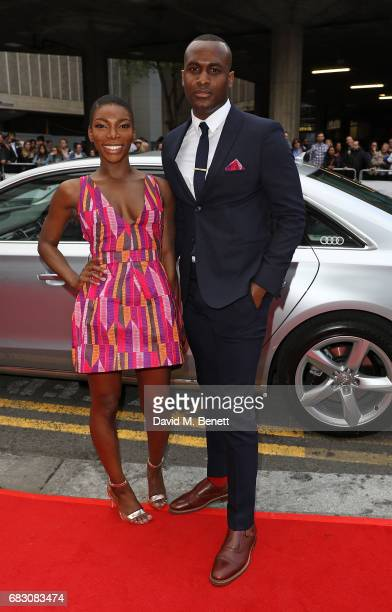 Michaela Coel and Kadiff Kirwan arrive in an Audi at the BAFTA TV on Sunday 14 May 2017 on May 14 2017 in London United Kingdom