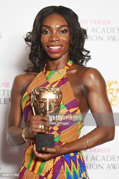 Michaela Coel holds the award for Breakthrough Talent during the House Of Fraser British Academy Television Awards 2016 at the Royal Festival Hall on...