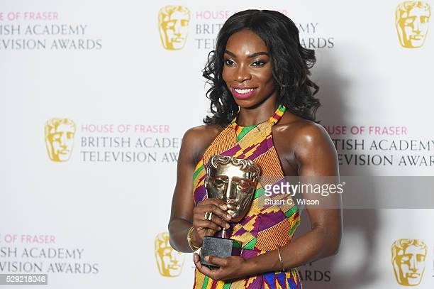 Michaela Coel poses with the award for Breakthrough Talent in the Winners room at the House Of Fraser British Academy Television Awards 2016 at the...