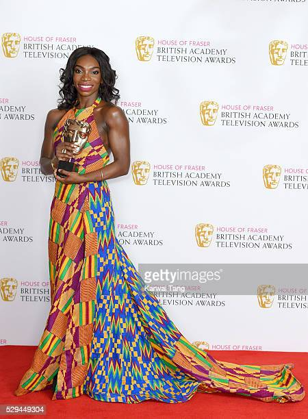 Michaela Coel winner of Female Performance in a Comedy Programme for 'Chewing Gum' poses in the winners room at the House Of Fraser British Academy...