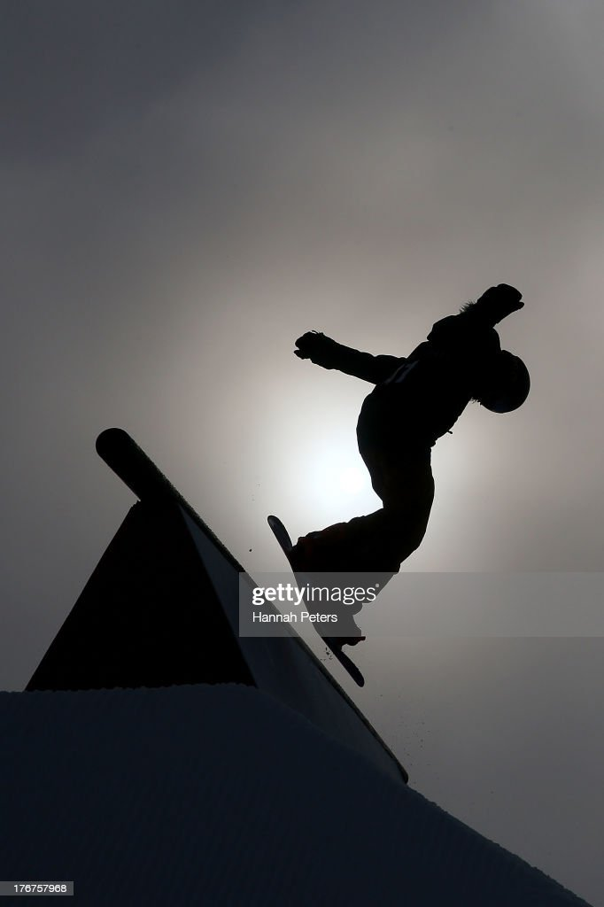 Michaela Davis-Meehan of Australia competes in the warm up prior to the FIS Snowboard Slopestyle World Cup qualifying during day five of the Winter Games NZ at Cardrona Alpine Resort on August 19, 2013 in Wanaka, New Zealand.