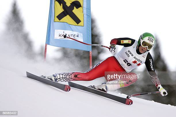 Michaela Dorfmeister of Austria competes during the FIS Skiing World Cup Women's Downhill on January 13 2006 in Bad Kleinkircheim Austria