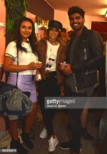Michaela Efford Danielle Peazer and Neel Patel attend the Starbucks x Skinnydip PSL Season party at 29 Neal Street on September 21 2017 in London...