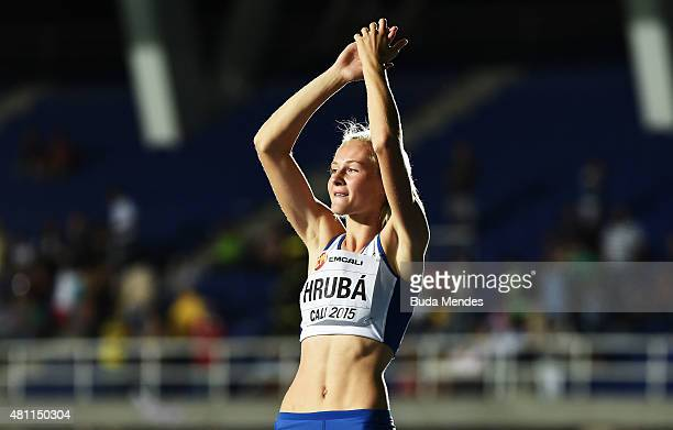 Michaela Hruba of the Czech Republic reacts during the Girls High Jump Final on day three of the IAAF World Youth Championships Cali 2015 on July 17...