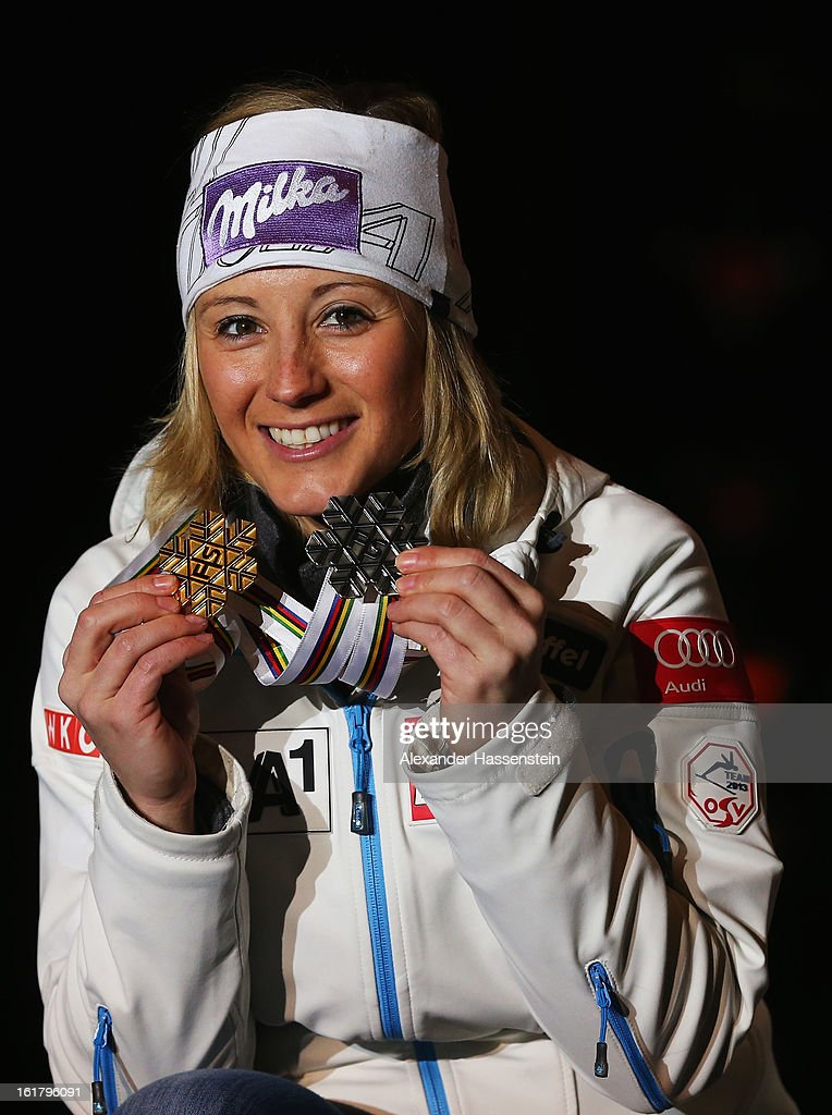 Michaela Kirchgasser of Austria celebrates at the medal ceremony with her silver medal after finishing second in the Women's Slalom during the Alpine FIS Ski World Championships on February 16, 2013 in Schladming, Austria.
