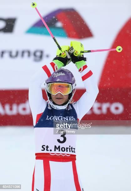Michaela Kirchgasser of Austria celebrates finishing third in the Women's Combined during the FIS Alpine World Ski Championships on February 10 2017...