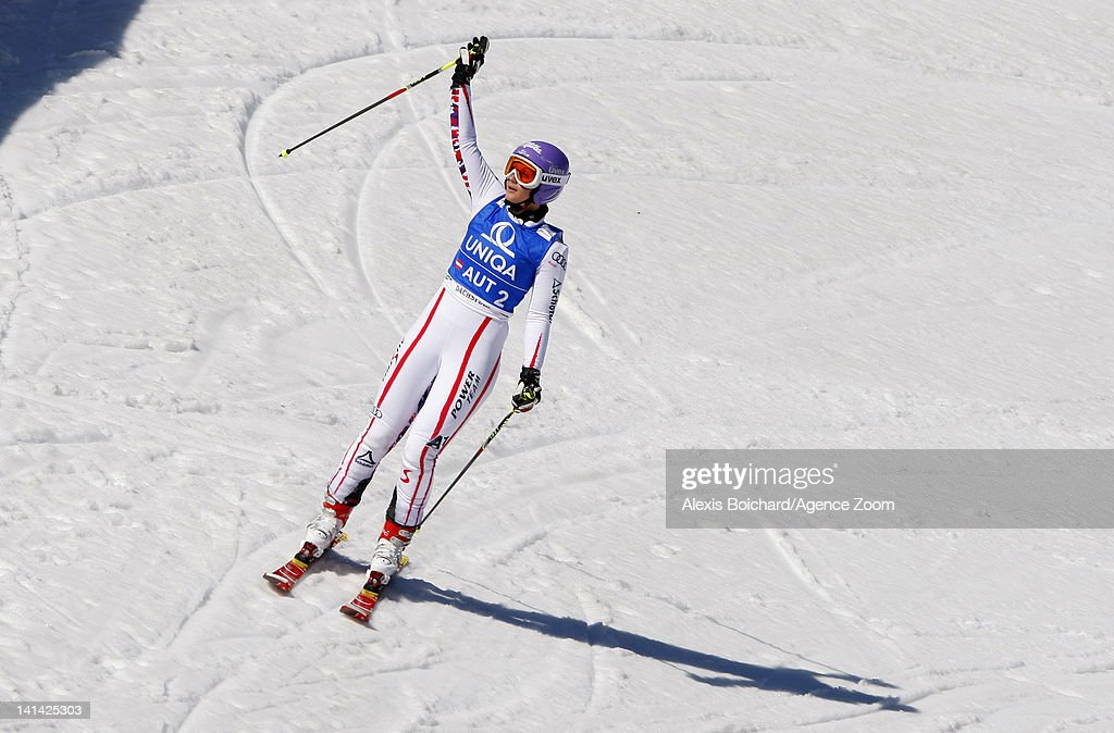 <a gi-track='captionPersonalityLinkClicked' href=/galleries/search?phrase=Michaela+Kirchgasser&family=editorial&specificpeople=722582 ng-click='$event.stopPropagation()'>Michaela Kirchgasser</a> of Austria competes during the Audi FIS Alpine Ski World Cup Nations Team Event on March 16, 2012 in Schladming, Austria.