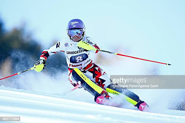Michaela Kirchgasser of Austria competes during the Audi FIS Alpine Ski World Cup Women's Slalom on December 29 2015 in Lienz Austria