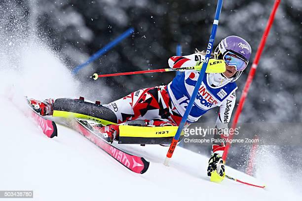 Michaela Kirchgasser of Austria competes during the Audi FIS Alpine Ski World Cup Women's Slalom on January 05 2016 in Santa Caterina Valfurva Italy